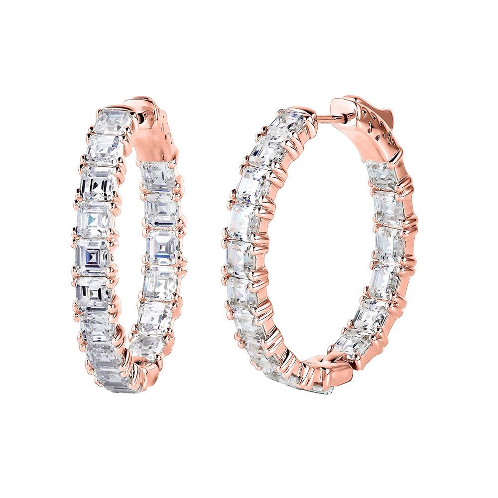 "18 KGP Rose Gold 1.25"" Asscher Cut Oval Couture Hoops | Bling By Wilkening | Jewelry-Exposures International Gallery of Fine Art - Sedona AZ"